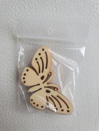 Houten figuurtjes vlinders 6 x 3cm - 5 stuks