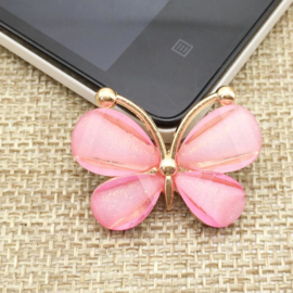 Vlinder Rhinestone - Licht Rose - per stuk