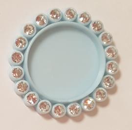 Cirkel 3cm met strass - per stuk - Licht Blauw