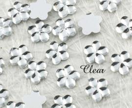 4mm strass bloemetjes - 25 stuks - Clear