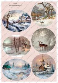 GH3386 Vintage vel - Cirkels en Ovaal Winter/Kerst - Gerda's Hobbyshop