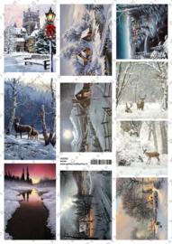 GH3353 Vintage vel - Winterlandschap (9 plaatjes) - Gerda's Hobbyshop