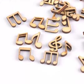 Houten figuurtjes - Muzieknootjes - 25 stuks