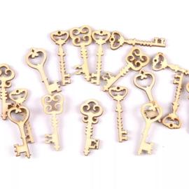 Houten figuurtjes - Sleutels - 10 stuks
