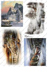 GH3351 Vintage vel - Winterlandschap Groot (4 plaatjes) - Gerda's Hobbyshop