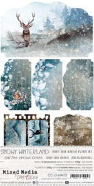 CC-JJ-MM12 Junk Journal Set Snowy Winterland, Mixed Media, 15,5x30,5cm, 250 gsm (12 sheets, 6 designs, 2x6 double-sided sheets + bonus design on the cover)
