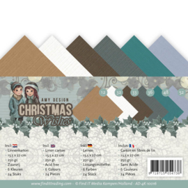 AD-4K-10016 vierkant karton 13.5 x 27cm - Christmas Wishes - Amy Design