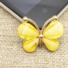 Vlinder Rhinestone - Geel - per stuk