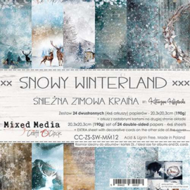 CC-ZS-SW-MM12  Paper Collection Set 20,3x20,3cm Snowy Winterland, Mixed Media, 190 gsm (24 sheets, 12 designs, 4x6 double-sided sheets + bonus design on the cover)