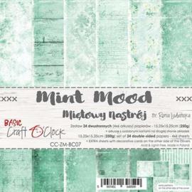 "CC-ZM-BC07 Paper Collection Set 6""*6"" Basic 07 - Mint Mood, 250 gsm (24 sheets, 12 designs, 4x6 double-sided sheets, bonus design - 2 sheets)"