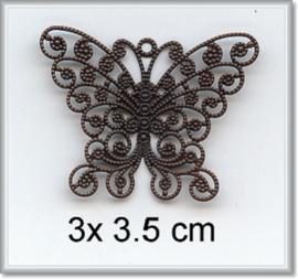 Filigraan vlinder - 5 stuks - Zilver