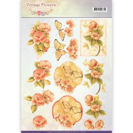 CD11047 Knipvel A4 - Vintage Flowers - Jenine's Art