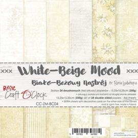 "CC-ZM-BC04 Paper Collection Set 6""*6"" Basic 04 - White-Beige Mood, 250 gsm (24 sheets, 12 designs, 4x6 double-sided sheets, bonus design - 2 sheets)"