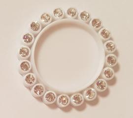 Cirkel 3cm met strass - per stuk - Wit