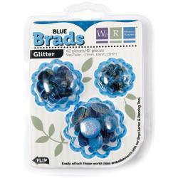 42057-6 Glitter brads 3 verschillende maten - Blue - 42 stuks - We R Memory Keepers
