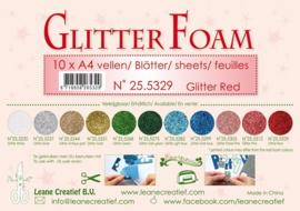 25.5329 Glitter foam sheets A4 Glitter Red - per vel