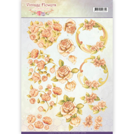 CD11045 Knipvel A4 - Vintage Flowers - Jenine's Art
