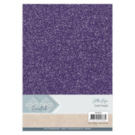 CDEGP001 Glitterkarton A4 250gr - Donker Paars  - 6 stuks - Card Deco