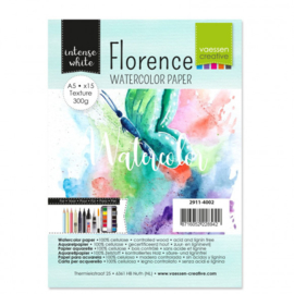 2911-4002 Watercolor Paper - 300 grams - A5 - 15stuks - Intens White - Florence - Vaessen Creative