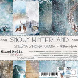 """CC-ZM-SW-MM12 Paper Collection Set 6""""*6"""" Snowy Winterland, Mixed Media, 250 gsm (24 sheets, 12 designs, 4x6 double-sided sheets,"""