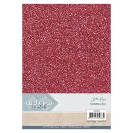 CDEGP019 Glitterkarton A4 250gr - Kerst Rood  - 6 stuks - Card Deco