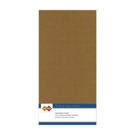 44 Kraft Mokka - Linnen Kaarten 4 kant 13.5x27cm - 10 stuks - 200 grams - Card Deco