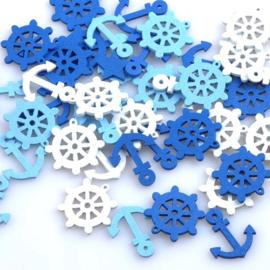 Hout figuurtjes - Nautisch Blauw/Wit - 10 stuks
