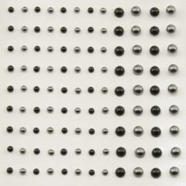Plakparels 3 en 5mm - 108stuks -Zwart en Zilvergrijs - Vaessen