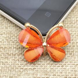 Vlinder Rhinestone - Oranje - per stuk