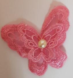 Kanten Vlinders Rose - met 1 parel - 5 stuks