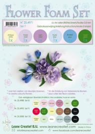 25.4971 Flower Foam Set 7 - 0.8mm. pastel blue/violet colours