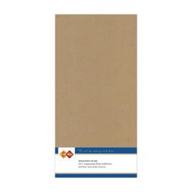 45 Kraft Capuccino - Linnen Kaarten 4 kant 13.5x27cm - 10 stuks - 200 grams - Card Deco