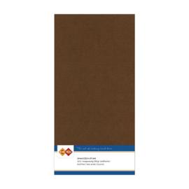 33 Chocolade Bruin - Linnen Kaarten 4 kant 13.5x27cm - 10 stuks - 200 grams - Card Deco