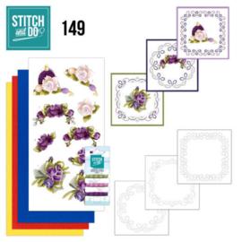 Stitch and Do 149 - Bloemen - Compleet set voor 3 borduurkaarten