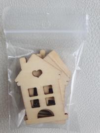 Houten figuurtje huisje 5 x 3.5cm - 5 stuks