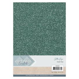 CDEGP004 Glitterkarton A4 250gr - Dark Teal  - 6 stuks - Card Deco