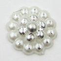 Parelflower cirkel - 10 stuks - Wit/zilver