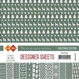 CDDSKG001 Designer Sheets 15x15cm - Kerst Groen - Card Deco