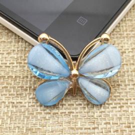 Vlinder Rhinestone - Blauw - per stuk