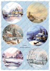 GH3383 Vintage vel - Cirkels Kerst/Winter - Gerda's Hobbyshop