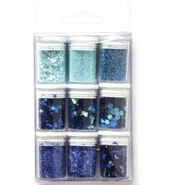 12194-9406 Glitters Blauw - 9 potjes