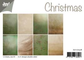 6011-0528 Papierset A4 - Kerst achtergrond - Joy Crafts
