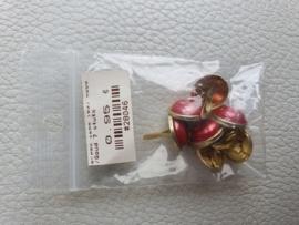 Parelbrad 12mm rood/goud- 7 stuks