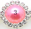 Rhinestone met parel 15mm - Rose - per stuk