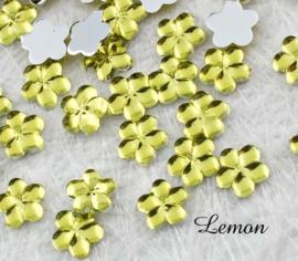 4mm strass bloemetjes - 25 stuks - Lemon