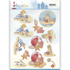 CD11067 Knipvel A4 - Beach Fun - Jeanine's Art
