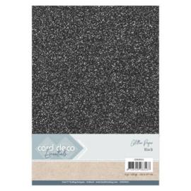 CDEGP021 Glitterkarton A4 250gr - Zwart  - 6 stuks - Card Deco