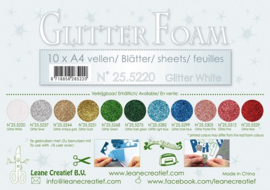 25.5220 Glitter foam sheets A4, Glitter White - 4 vellen