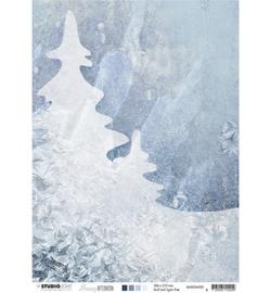 BASISSA300 Achtergrondpapier A4 dubbelzijdig  - Snowy Afternoon - Studio Light