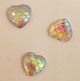 Rhinestone hart snake - 10 stuks - Transparant AB